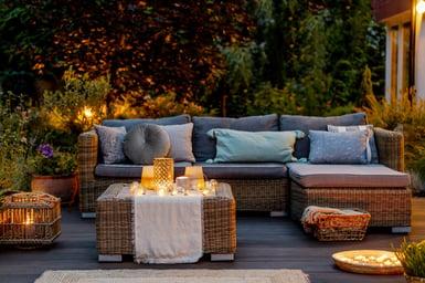 Cozy autumn evening on a modern designed terrace