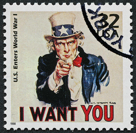 """Cancelled Stamp From The United States Featuring Uncle Sam """"I want You"""" During World War I."""