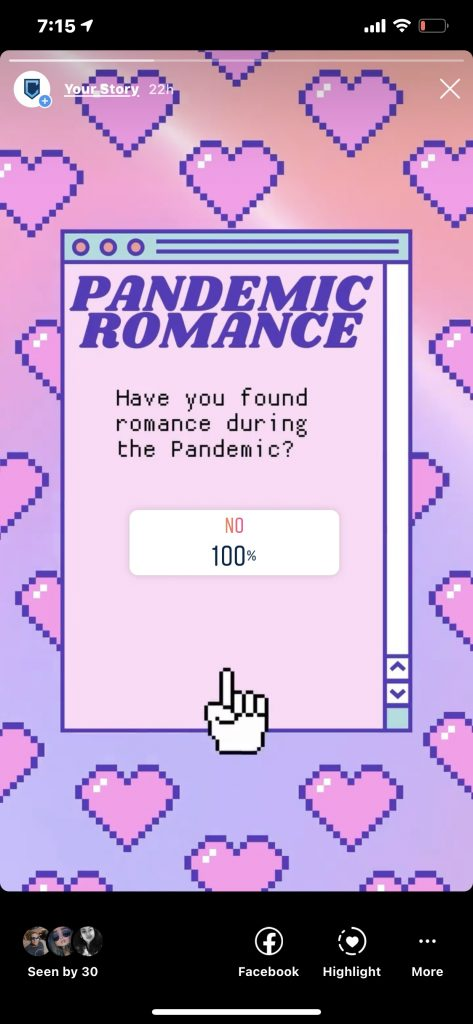 A screenshot of a social media poll; 100% of participants did not find romance.