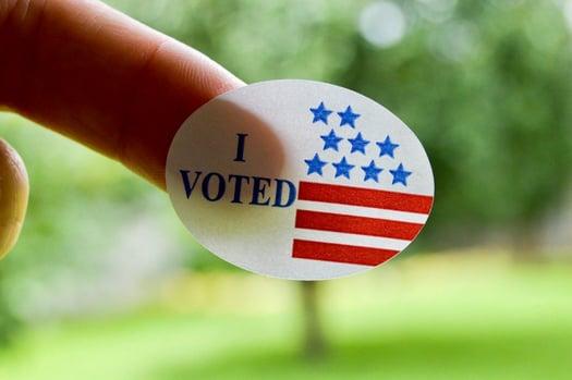 i voted sticker and finger