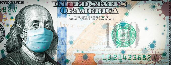 Ben Franklin, on 100 dollar bill, wearing a mask.
