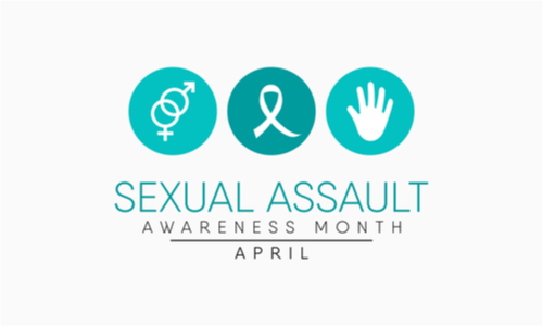 Sexual assault awareness month banner with three circles at the top.