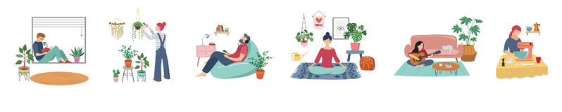 series of illustrated people sitting at their home, room or apartment, practicing yoga, enjoying meditation, relaxing on sofa, reading books, baking and listening to the music.