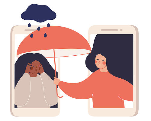 illustration of two woman within cellphones, one distressed underneath a small raincloud while the other emerges from her cellphone holding an umbrella