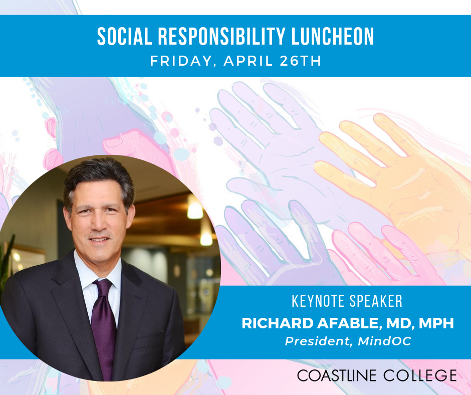 Image showing Richard Afable, the keynote of the Social Responsibility Luncheon, with colorful hands as the background
