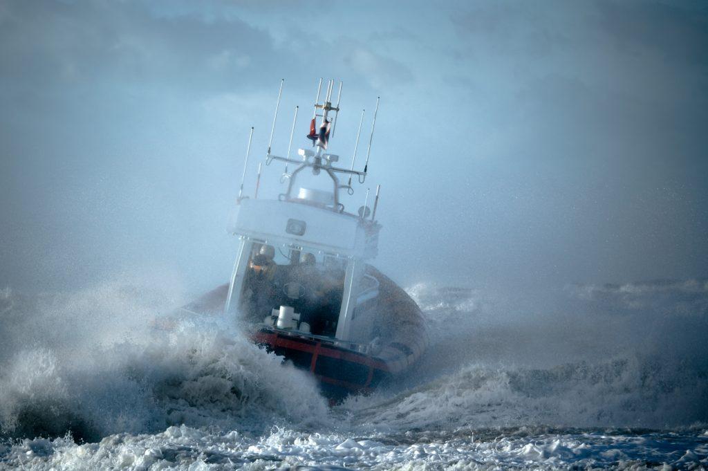 boat during storm in ocean