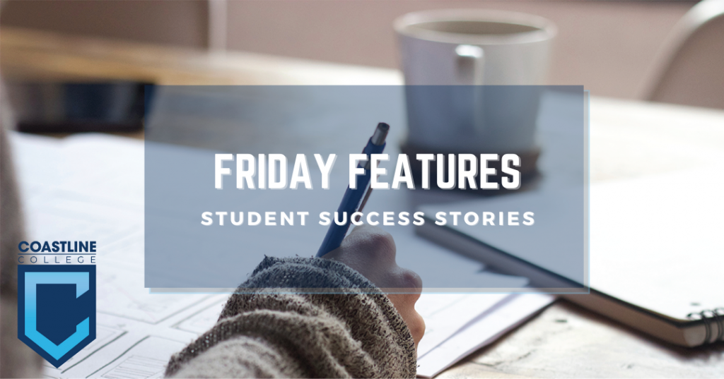 """A student's hand working on an assignment, with the line """"Friday Features: Student Success Stories"""""""